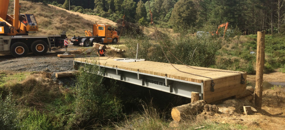 Forestry access bridge installation