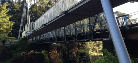 Concrete Pedestrian Suspension Bridge at McLaren Falls