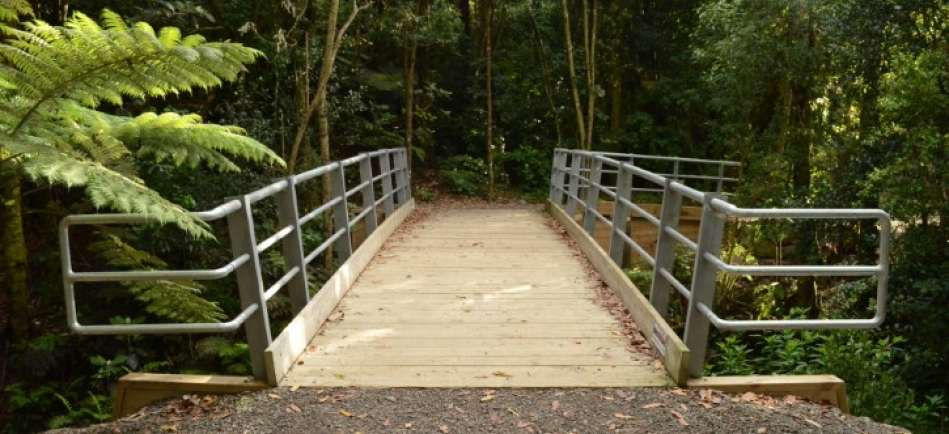 Reservoir cycleway bridge 10m light weight timber deck