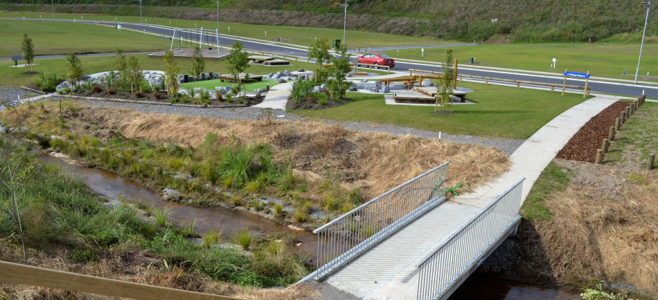 Pedestrian Bridge - The Lakes Tauranga overview