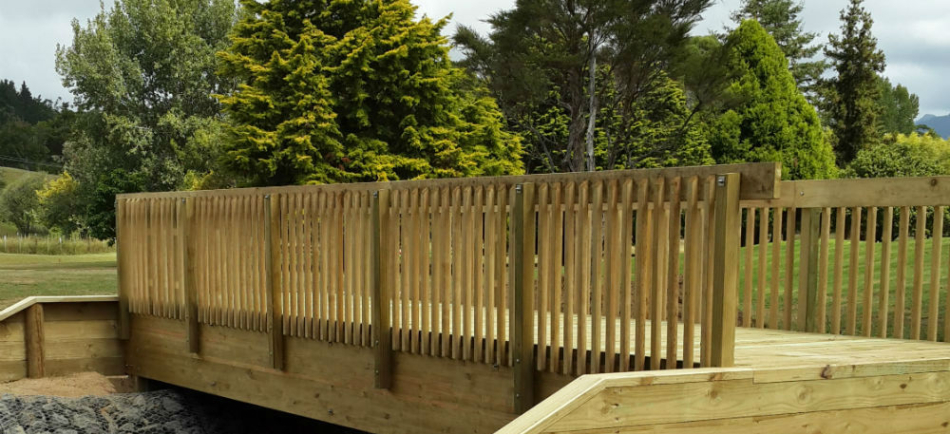 Laminated Timber Bridge - Gisborne Walkway - side view